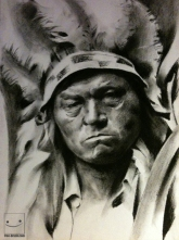 Indian Soul - Willow Charcoal (only) on Paper -