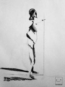 Life Drawing - Willow Charcoal (only) on Paper -